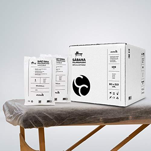 Sábana Desechable SMS Ajustable 80x210 cm (20g)   Pack de sabanas desechables para camilla   (10 uds)