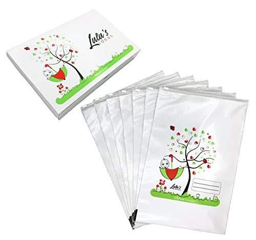 Lulu's Ideas 7 Bustine Corredino Neonato Ospedale 24.5x37cm, Chiusura Cursore Ermetico, PE Biodegradabile, Inodore, Perlato, MADE IN ITALY, Sacchetti cambio neonato ospedale, Idea Regalo Mamma