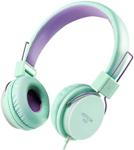 HOTCOK H37 Kids Headphones for Girls Boys Foldable Adjustable On Ear Headphones 3.5mm Jack Wired Cord for School,Home,Airplane,Car