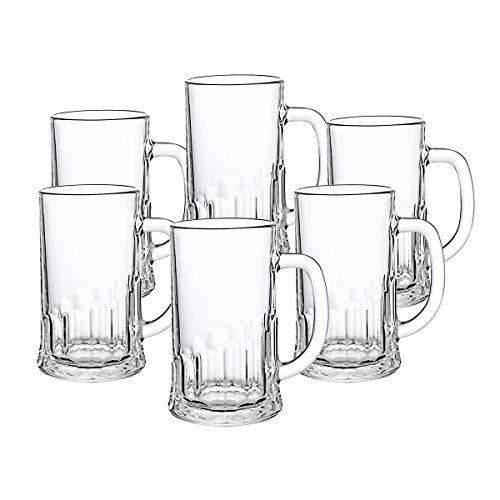 CRISTALICA Bierkrug 6er-Set aus Glas Bierglas mit Henkel Humpen transparent 500 ml