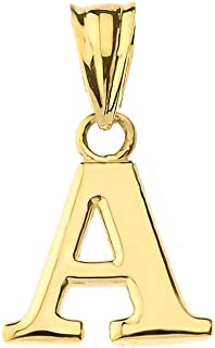 Fine Personalized Initial A-Z Charm Pendant in Solid 14k Yellow Gold