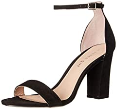 Spare block-heel sandal featuring slim ankle strap with buckle closure
