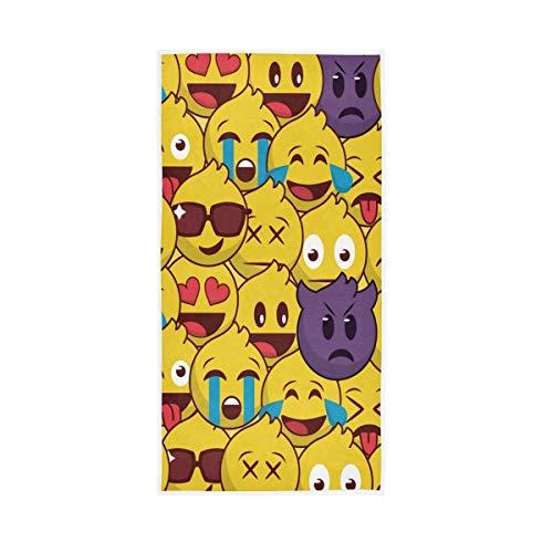 SZBNIZAINAOI Emoticon - Toallas de mano suaves y altamente absorbentes, 39,9 x 69,8 cm, toallas de baño, multiusos para cara, baño, gimnasio, hotel, spa