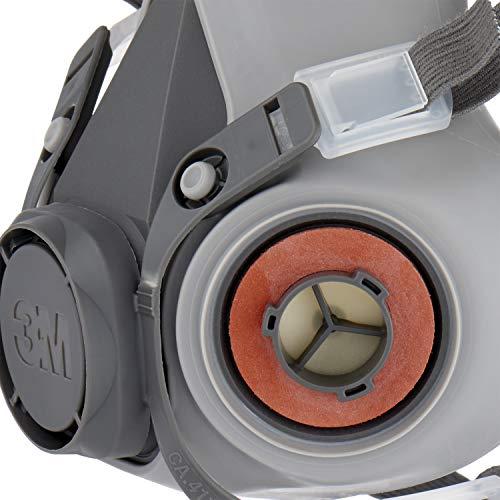 3M Mehrweg-Halbmaske 6002C - Halbmaske mit Wechselfiltern gegen organische Gase, Dämpfe und Partikel - Für Farbspritz- und Maschinenschleifarbeiten - 6