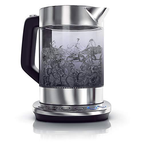 Arendo - Bollitore in vetro fumé con regolazione della temperatura - Acciaio inox – Funzione mantieni caldo per 30min - Capacità 1,5 litri - Vetro borosilicato - Stazione base in acciaio inox