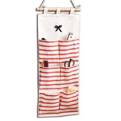 Baanuse Aufbewahrungstasche Hängeorganizer Multifunktionale Wohnzimmer Schlafzimmer Bad, Rote Streifen