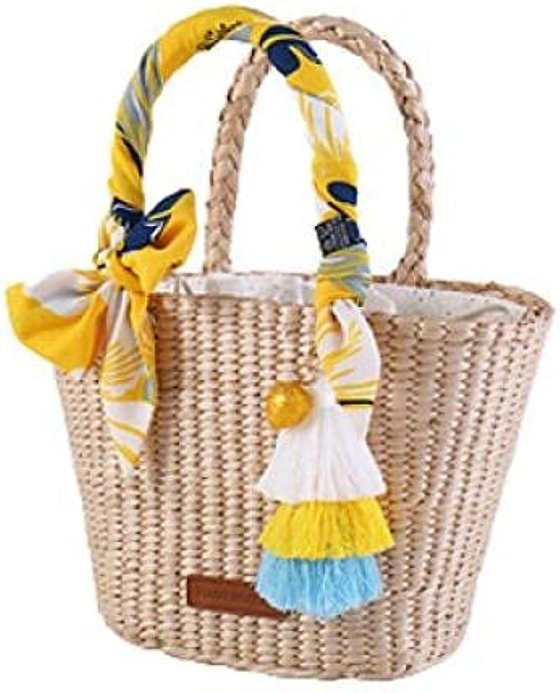 Natural Basket Handmade Straw bag Woven Handbags Sea Grass Beach Bag Top Handle Bag Wedding Gift Small Size