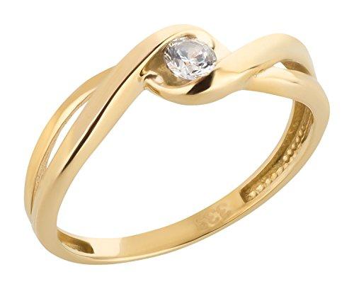 Ardeo Aurum Damenring aus 333 Gold Gelbgold mit Zirkonia im Brillant-Schliff Verlobungsring Solitär