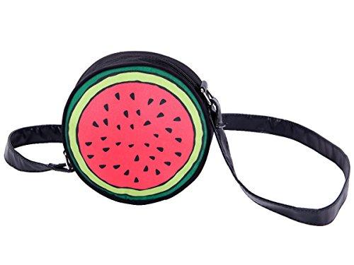 Borsa   Borsetta   Rotonda   a Tracolla   Anguria   Verde Rosso   Ø 17 cm   Chiusura Zip   Accessorio alla Moda   per Donne   Ragazze