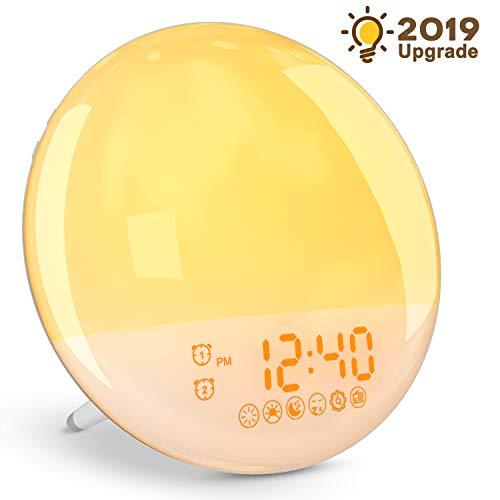 YISSVIC Lichtwecker Wake UP Licht Tageslichtwecker Sonnenaufgang Dämmerungsfunktion mit Snooze duale Alarme FM Radio 20 Helligkeit 16 Lautstärke 8 Wecktöne (Verpackung MEHRWEG)