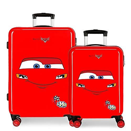 Disney Cars Lightning Mcqueen Juego de Maletas Rojo 55/68 cms Rígida ABS Cierre de combinación Lateral 104L 6 kgs 4 Ruedas Dobles Equipaje de Mano