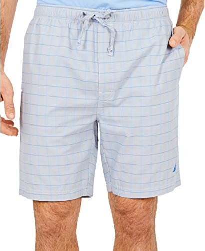 Nautica Men's Soft Woven 100% Cotton Elastic Waistband Sleep Pajama Short, Neutral Grey, Large