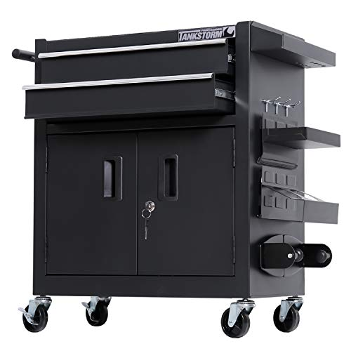 TANKSTORM Tool Chest Heavy Duty Cart Steel Rolling Tool Box with Lockable Doors (TZ12 Black)