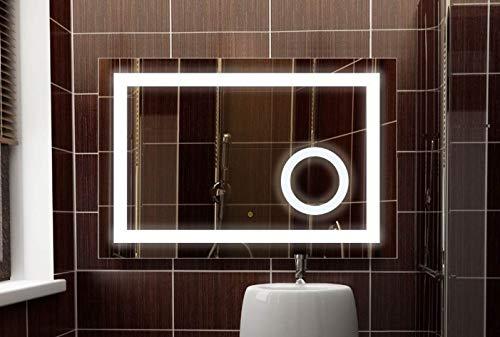 SBC Badspiegel mit A++ Led Beleuchtung und integriertem 5x Kosmetikspiegel, dimmbar durch Touch Sensor, Bad Lichtspiegel 60x80 cm