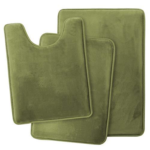 Clara Clark Bathroom Rugs, Ultra Soft Non Slip and Absorbent, Velvet Memory Foam Bath Mat. Set of - 20 x 32 / 17 x 24 / 19 x 24, Sage Green