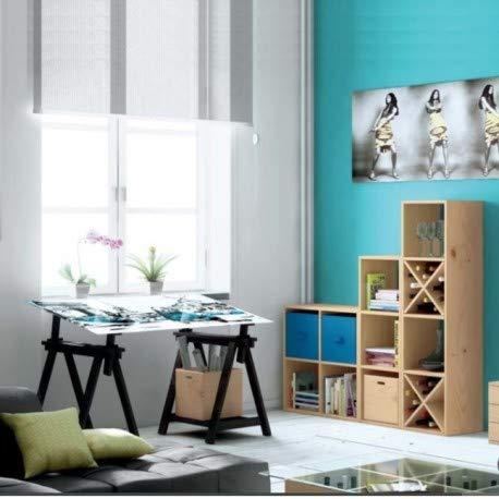 DESKandSIT kme2016001 - Scrivania con cavalletti regolabili in altezza e vetro 140 x 72cm nero