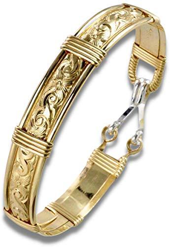 Handmade Gold Bracelets For Women - 14k Gold Filled Wire Wrapped Bangle Bracelet - Waves & Flowers...