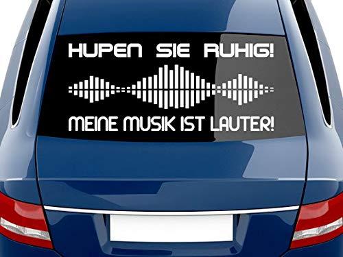 GRAZDesign Autoaufkleber lustig, Hupen sie ruhig - Meine Musik ist lauter, Sprüche Heckscheiben Aufkleber / 70x30cm / 010 weiß