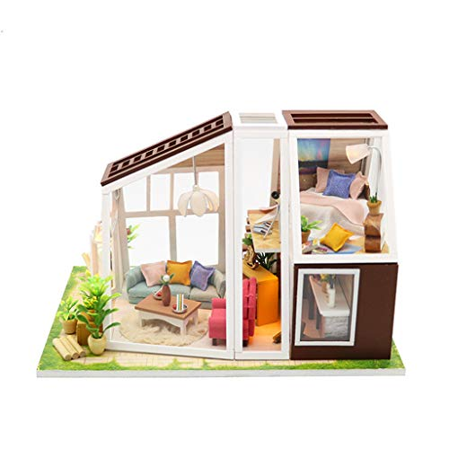 GBSELL DIY 3D Wooden Dollhouse Kit with Real LED LightDecorations w/Furniture Accessories -for Toddler Girls and Kids Crafting Toy (A)