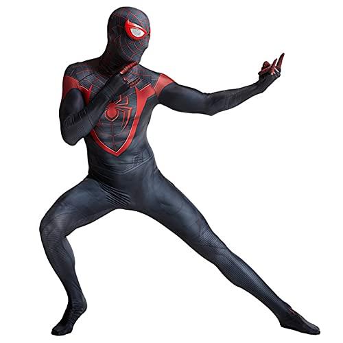 Hflyy Superhéroe Bodysuit Masquerade Juegos Jumpsuit Adulto Niño Onesies Boy Girl Cumpleaños Fiesta Regalos Fancy Dress Traje Navidad Pascua Zentai Ropa,Black-Kids/M/110~125cm