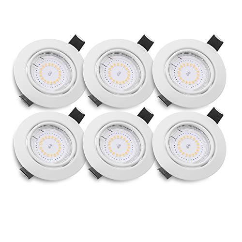 KINGSO 6 Pack Spots LED Encastré GU10 5W 500lm Spots de Plafond Blanc Chaud 3000K AC 230V Lampe Plafonnier Projecteur Encastrable Étanche IP23 pour Salle de Bain Salon Cuisine Couloir Galerie Magasin