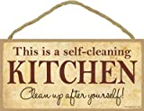 SJT ENTERPRISES, INC. This is A Self-Cleaning Kitchen Clean Up After Yourself 5' x 10' Wood Plaque Sign (SJT13148)