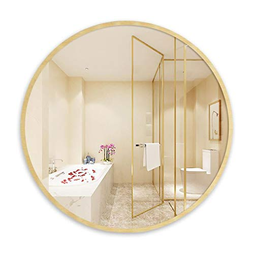 Spiegel für Badezimmer, Wandmontage, rund, Rahmen aus Holz, Badezimmer, Make-up, Rasierer, Vanity, Dressing, Flur, Schlafzimmer, Holzfarbe, 50 cm