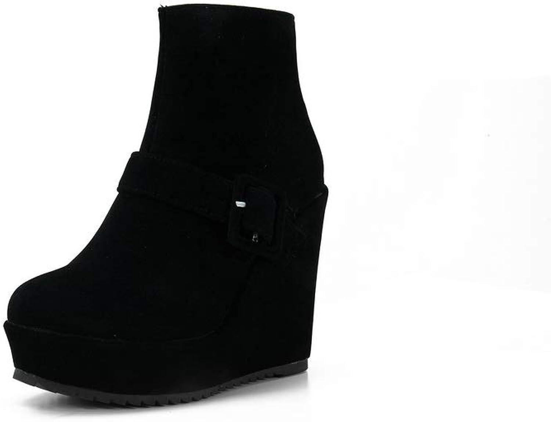 AN Womens Wedges Platform Buckle Zipper Imitated Suede Boots DKU02137