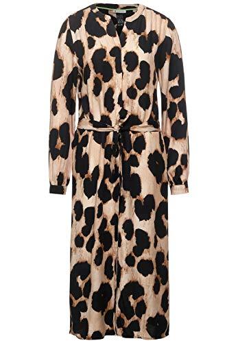 Street One Damen Midi-Kleid mit Leomuster Savannah Sand 38