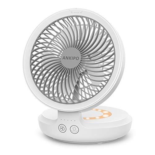 卓上扇風機 ANKIPO 扇風機 USB扇風機 サーキュレーター 自動首振り 静音 小型 4000mAh コードレス 風量4段階調節 卓上 壁掛け 超強風 強力 ミニ扇風機 usb充電式 呼吸ランプ付き パワフル送風 折りたたみ可能 タッチパネル チャイルドロック機能付き 省エネ 熱中症対策 オフィス/寝室/アウトドア 一年保証付き ホワイト