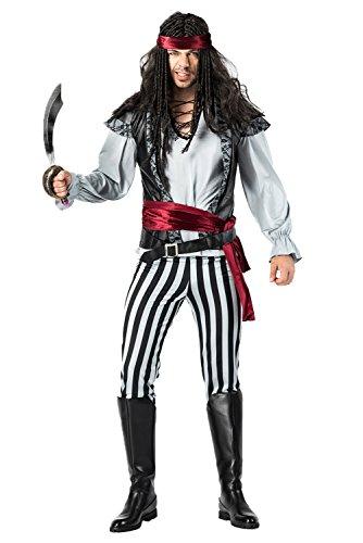 lancoszp Disfraz de Pirata Capitan para Hombres Set Completo con Cuchillo