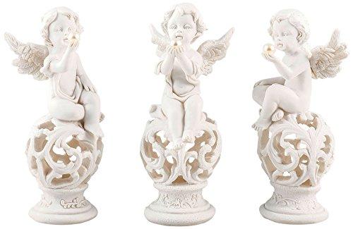 Pajoma 10573, Ángel Figuras Perla Conjunto de 3, Resina, Altura 13,5 cm