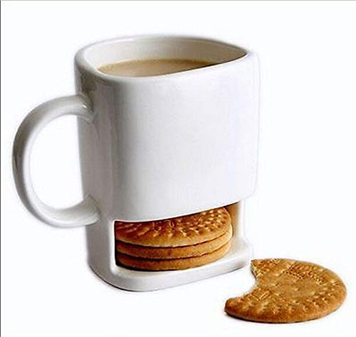 3D Coffee Mug with Cookie Biscuit Compartment, 8 oz Cookies Milk Coffee Cup Ceramic Mug Dunk Mug with Biscuit Pocket Holder for Birthday,Christmas and New Year