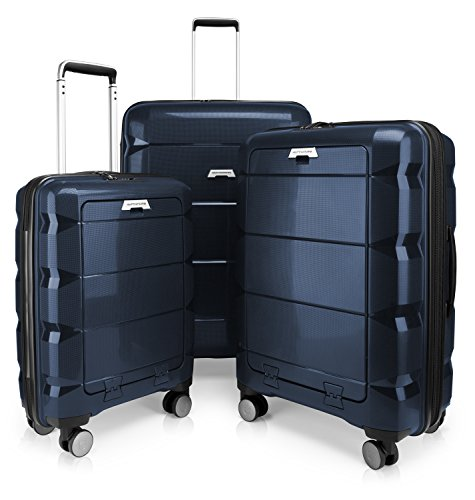 HAUPTSTADTKOFFER - Britz - 3er Koffer-Set Trolley-Set Rollkoffer Reisekoffer Erweiterbar, TSA, 4 Rollen, (S, M & L), Dunkelblau