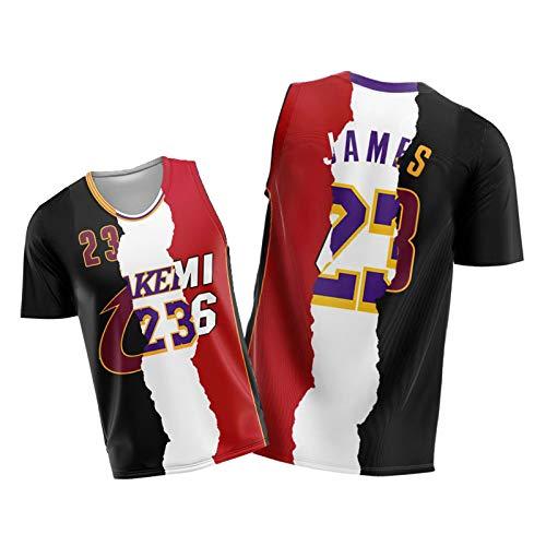 Lebron 3 Farbe Patchwork Basketball-Jersey - Heißpresse der Männer James Jersey Cavaliers Lakers Miami Patchwork Halbhülse Weste Kombination XXL