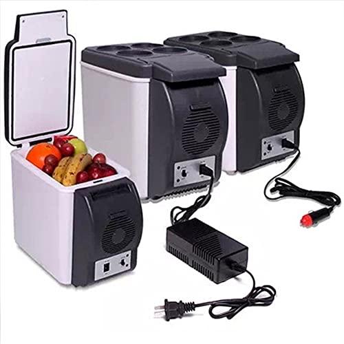 LIXUDECO Mini Nevera 6L Mini Coche Refrigeradores Frigorífico 2 en 1 Más frío Calentador ICEBOX 12 V Viaje portátil Caja de refrigerador eléctrico Congelador con 4 Orificios Soporte