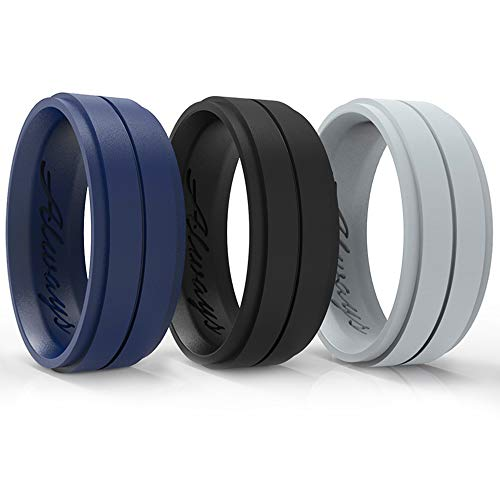 Arua Silicone Wedding Ring for Men. 3-Pack Wedding Bands. Safe and Durable Rubber Wedding Bands for Men - Black, Blue, Grey 3 Rings Set - Gift Box Included. (Size 12 (21.3 mm Diameter))