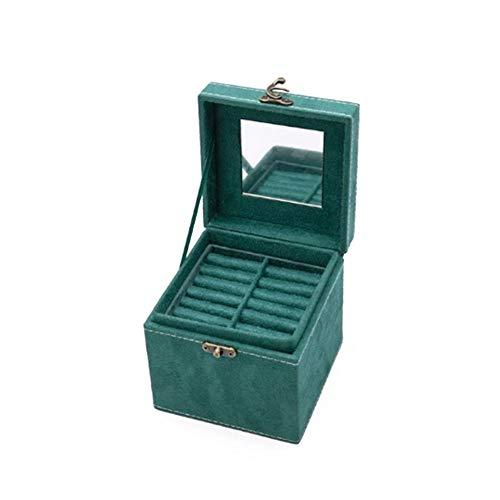 YHDNCG Caja de joyería,Caja de joyería pequeña cuadrada,Contenedor de almacenamiento de pernos colgantes de doble capa,Caja de soporte de anillos