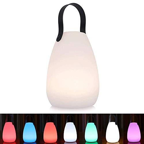 uuffoo Lámpara de noche portátil, Luces de noche cálidas regulables multicolor recargables inalámbricas LED a prueba de agua con mango de cuero para regalos para niños