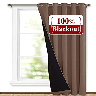 NICETOWN Thermal Insulated 100% Blackout Curtain, Noise Reducing Performance Grommet Slider Curtain Panel with Black Lining, Full Light Blocking Patio Door Panel (1 PC, 70 inches x 84 inches, Taupe)