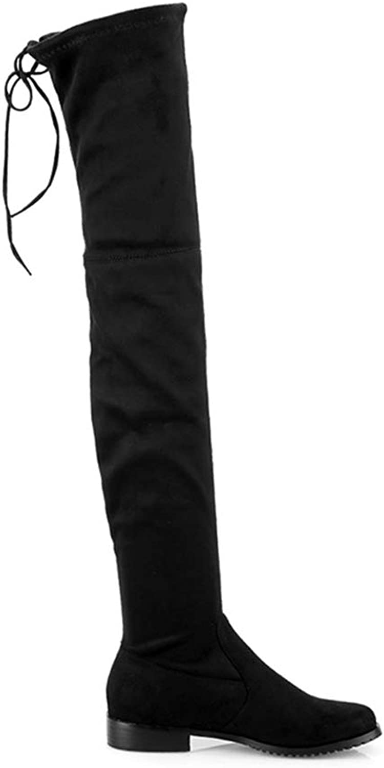 Over The Knee Boots for Women Flat Heels Slip-on Long shoes Round Toe Stretchy Thigh High Boot
