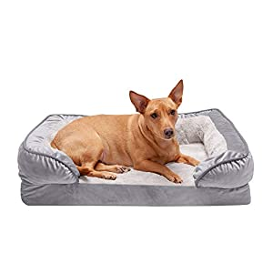 Furhaven Pet Dog Bed – Orthopedic Plush Velvet Waves Perfect Comfort Traditional Sofa-Style Living Room Couch Pet Bed with Removable Cover for Dogs and Cats, Granite Gray, Medium