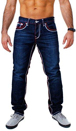 Amica Herren Denim Jeans Hose Straight Leg gerade Passform Vintage Look mit Kontrastnähte, Grösse:W31, Farbe:Dunkelblau/Rot-Weiß