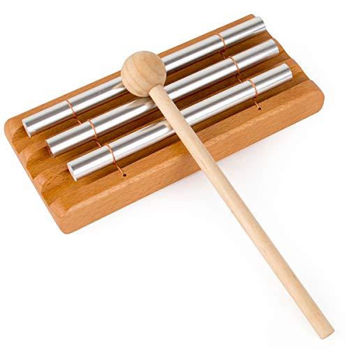 AKLOT Campanilla Timbre de trío de tres tonos Campanas de percusión de mano de campana para la gestión del aula de profesores de yoga de meditación de oración