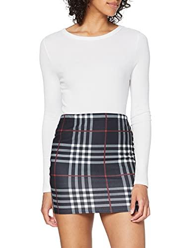 Amazon Brand - find. Women's Print Stretch Mini Skirt (Black Check, 12-14, Numeric_12)