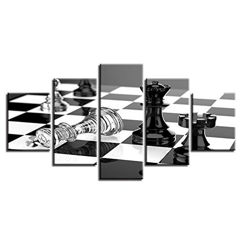 ARXYD Leinwand Wandkunst Poster Wohnzimmer 5 Stück Schachbrett Landschaft Malerei Schwarz-Weiß-Bilder Modulare Wohnkultur 150X100Cm - Kunstwerk Bilder Für Zuhause Büro Moderne Dekoration