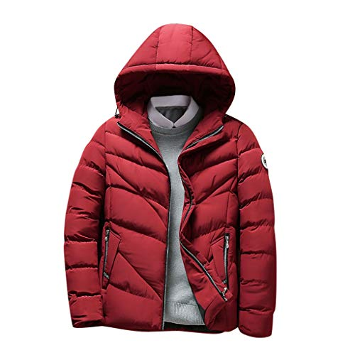 YKARITIANNA Men Jacket with Hooded Parkas Thicken Padded Down Jacket Windproof Outdoor Winter Casual Coat Red