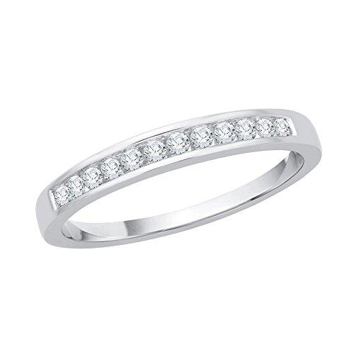 KATARINA - Banda de aniversario de diamante en oro de 14 K (1/5 quilates, J-K, SI2-I1)