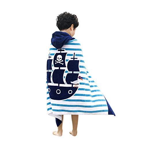 Runuo Kids Hooded Beach Badhanddoek, 100% katoen Super Zachte Kinderen Poncho Badjas Deken voor Jongens Meisjes