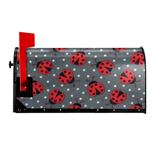 Miniisoul Insect Ladybug Print Mailbox Cover - Magnetic Mailbox Wraps Post Letter Box Cover for Garden Yard Home Decor, Standard Size Fits 21x18 in Mailbox